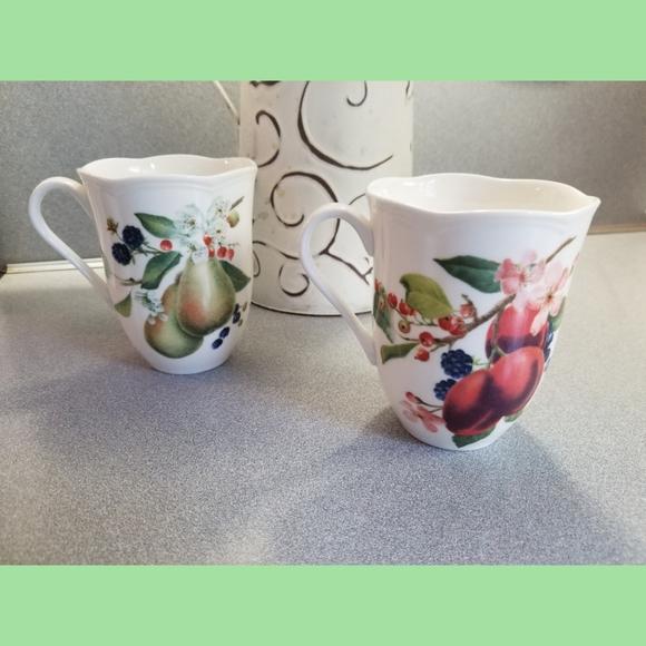 Lenox coffe cups mugs pear plum blossom FIRM